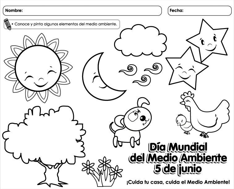 dibujos para colorear del dia del medio ambiente