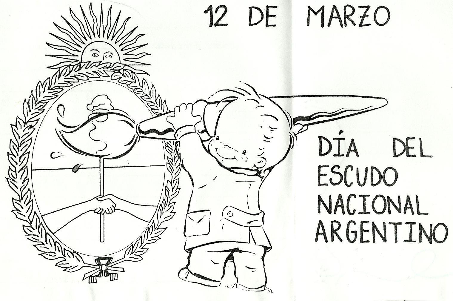 Negro Escudo Nacional Argentino Para Colorear Marzo Dia Del